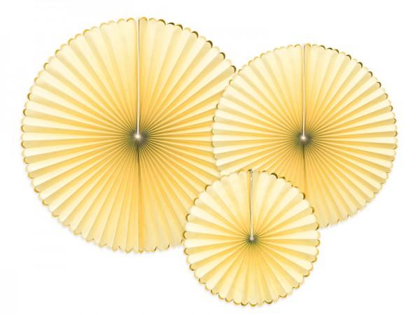 Dekoratives Papierrosetten Set, sonnengelb-gold 3-teilig