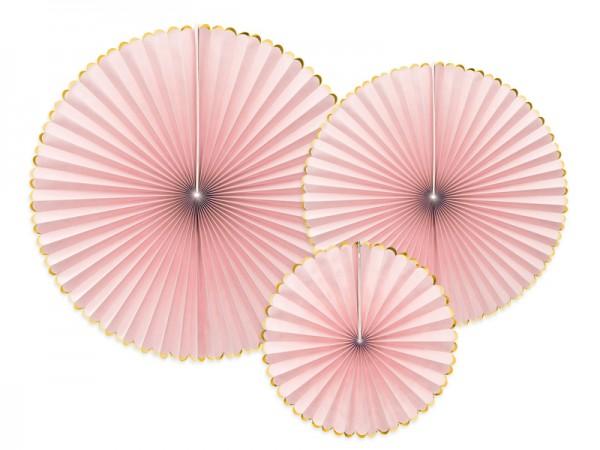 Dekoratives Papierrosetten Set, rosa-gold 3-teilig