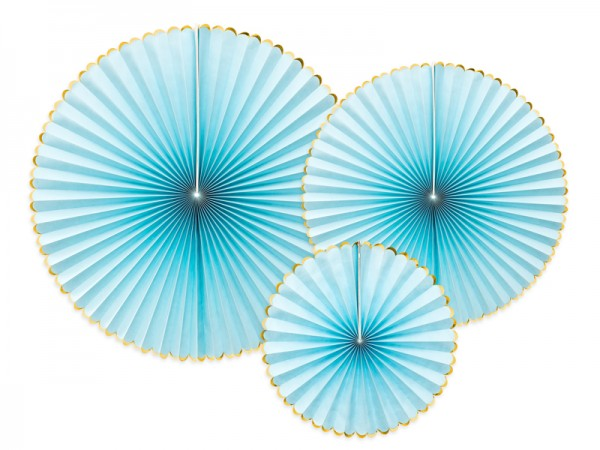 Dekoratives Papierrosetten Set, blau-gold 3-teilig