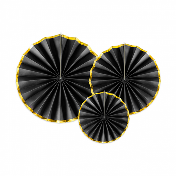 Papierrosetten Set, schwarz-gold 3-teilig