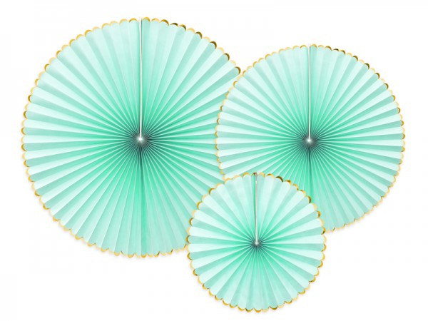 Dekoratives Papierrosetten Set, mint-gold 3-teilig