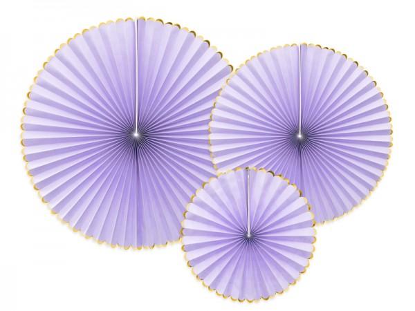 Dekoratives Papierrosetten Set, lila-gold 3-teilig